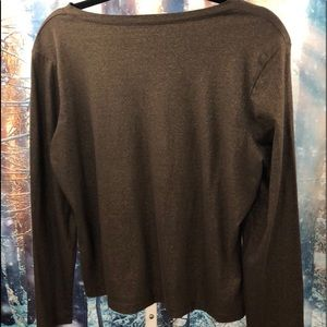 Talbots Long Sleeved Brown Top w Gold Specks